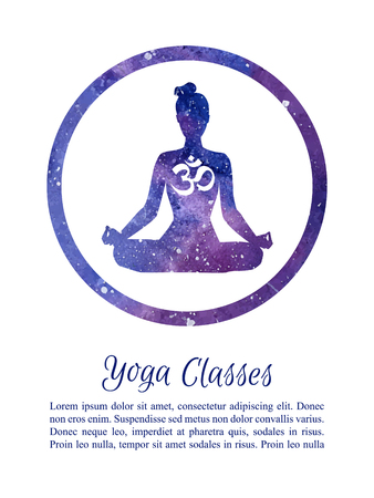 Card and poster template for Yoga classes with place for your text. Vector illustration with silhouette of yoga woman with galaxy watercolor space texture in a circle frame. Padmasana - Lotus pose.