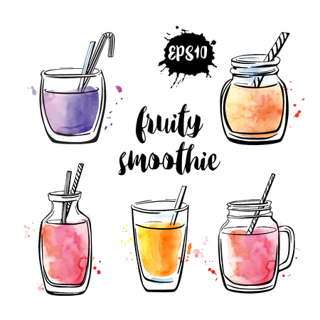 Set of vector illustrations Fruity smoothie. Collection of hand drawn cups, mugs and glasses with healthy summer cocktails. Black outline and bright watercolor stains isolated on white background. Illustration