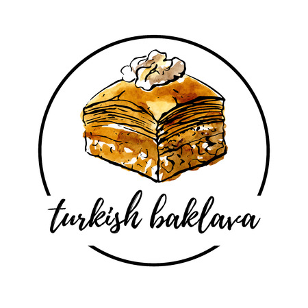 Vector illustration of turkish delight Baklava with walnut in circle composition. Hand drawn dessert with black outline and bright watercolor texture. Logo or banner design for cafe menu design