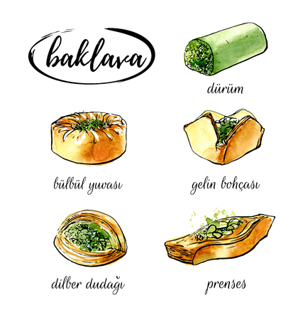 middle eastern food: Vector illustration Baklava. Set of hand drawn elements of traditional middle eastern dessert. Different sorts of turkish delight. Black ink outline and bright watercolor texture isolated on white.