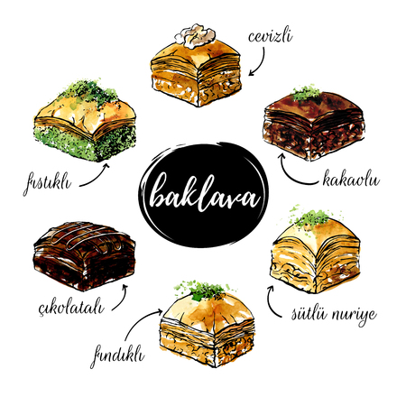 Vector hand drawn illustrations by famous turkish dessert Baklava. Black outline and bright watercolor texture isolated on white background. Mix of pastry products for menu, card, flyer or poster.
