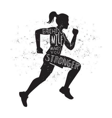 각 마일은 당신을 더 강하게 만듭니다. 실행중인 여자와 벡터 레터링 그림입니다. 흑인 여성의 실루엣, 영감 따옴표 및 grunge 텍스처를 작성하는 손. 동