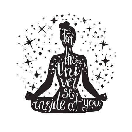 Feel the Universe inside of you. Vector yoga illustration with hand lettering. Black female silhouette with a handwritten quote and decorative stars.