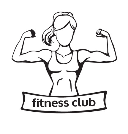 Vector illustration with a strong woman doing a bicep curl. Line art isolated on white background.