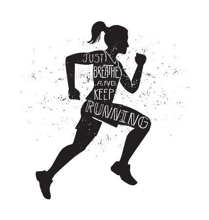Respira e continua a correre. Illustrazione di lettering vettoriale con una donna in esecuzione. Siluetta femminile nera, citazione ispiratrice scritta a mano e struttura del grunge. Archivio Fotografico - 86387401