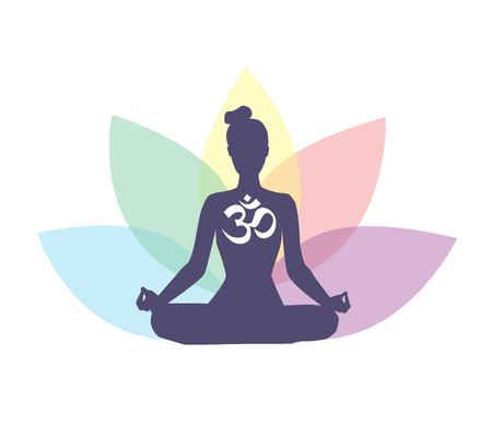 Vector illustration with meditating woman, religious symbol Om and lotus petals behind. Isolated on white background. Иллюстрация