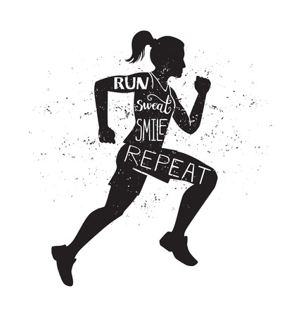 Run, sweat, smile, repeat. Vector lettering illustration with a running woman. Black female silhouette, hand written inspirational quote and grunge texture. Motivational card, poster, print design. Illustration