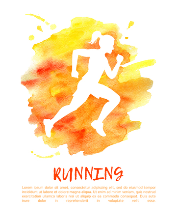 Vector illustration Run. White silhouette of running woman on bright orange watercolor stain with blots and drips. Colorful image with place for your text. Poster, card, print or flyer design.