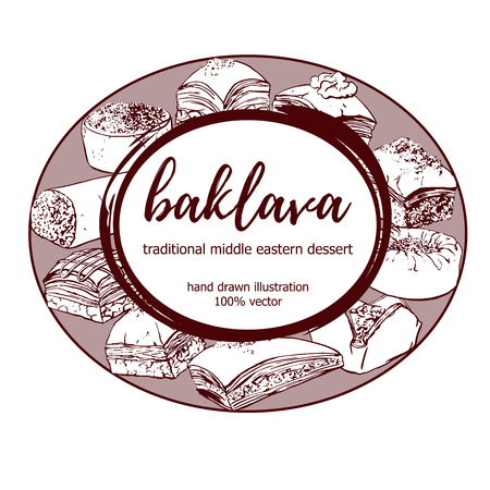 Baklava. Hand drawn vector illustration with traditional middle eastern dessert in circle composition with round frame with place for your text. Hand drawn sketchy elements on white background. Illustration