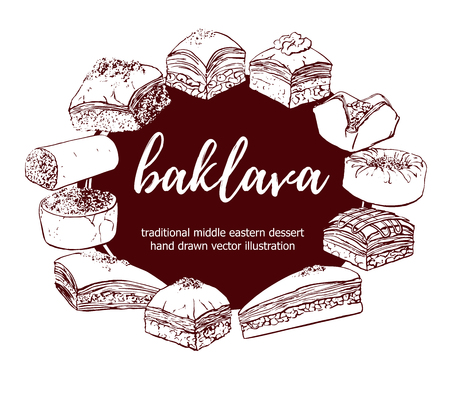 Baklava. Vector illustration with traditional middle eastern dessert in circle composition with place for your text. Hand drawn sketchy elements on a brown round label.