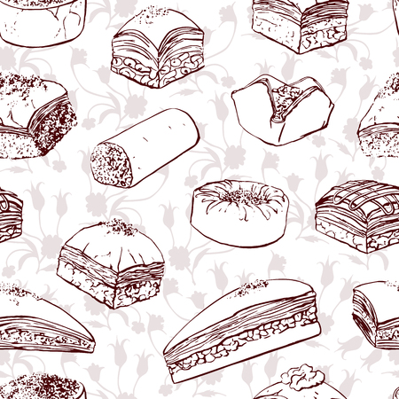 Vector seamless pattern with baklava and ottoman floral ornament. Brown hand drawn traditional middle eastern dessert and sketchy tulips on white background. Wrapping paper and background design.