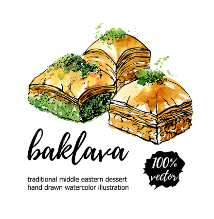 Vector illustration Baklava. Hand drawn traditional middle eastern dessert. Black ink outline and bright watercolor texture isolated on white with place for your text. Card, poster, flyer design. Ilustração