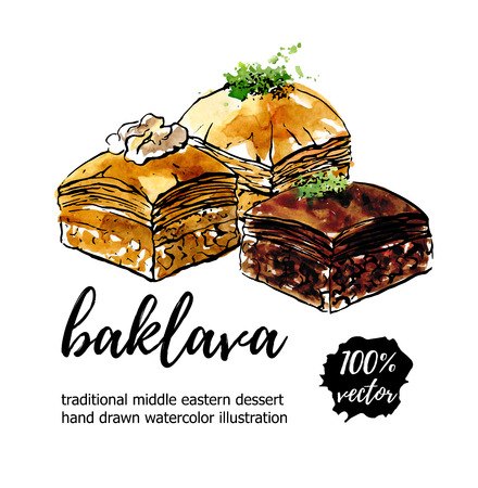 Vector illustration Baklava. Hand drawn middle eastern dessert with walnut, pistachio and chocolate. Black outline and watercolor texture on white with place for your text. Card, poster, flyer design.