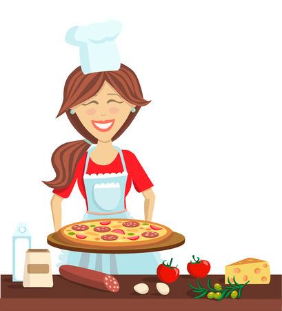 女のピザを料理します。フラット モダン料理ベクトル イラスト。エプロン、テーブル料理とピザの食材でシェフの幸せな女の子。白い背景の分離文  イラスト・ベクター素材