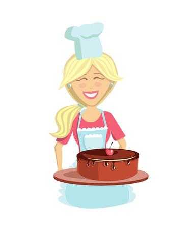 料理のベクターイラスト。おいしいチョコレートチェリーケーキとシェフの帽子とエプロンで幸せな若い女性。白い背景に孤立した文字。