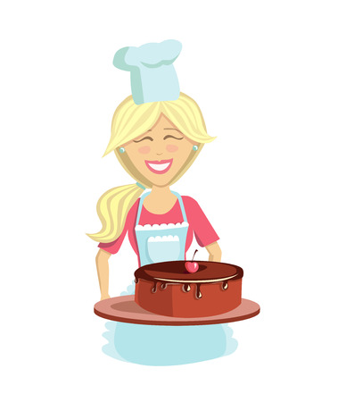 Culinary vector illustration. Happy young woman in chef hat and apron with delicious chocolate cherry cake. Isolated character on white background. Illustration