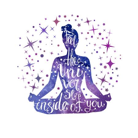 Ressentez l'univers en vous. Illustration vectorielle avec méditation femme et expression écrite à la main.
