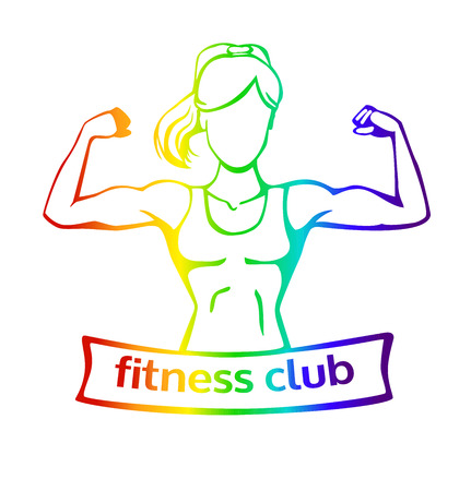 Vector Illustration With Strong Woman Doing Bicep Curl. Fitness ...