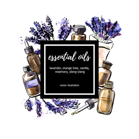 Lavender. Vector illustration Essential oil. Hand drawn watercolor bottles, aromatic plants and flowers and black square frame with place for your text. Aromatherapy card, poster, flyer design.
