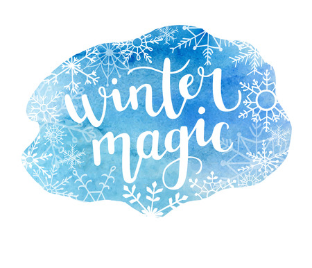 Winter magic. Vector illustration with modern calligraphy on bright blue watercolor stain. Lettering on hand painted texture. Badge, print, label, card or poster design.