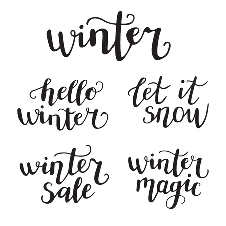 Winter phrases. Set of vector illustrations with hand lettering. Hand written ink quotes isolated on white background. Modern brush pen calligraphy.