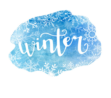 Winter. Vector illustration with modern calligraphy on bright blue watercolor stain. Lettering on hand painted texture. Badge, print, label, card or poster design.