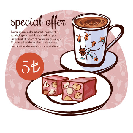 Hand drawn vector illustration of traditional turkish dessert lokum and a cup of coffee with oriental floral ornament of ottoman tulips. Turkish delight poster, card, flier design with text and price.