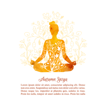Card, poster and flyer template Autumn yoga classes. Vector illustration with silhouette of yoga woman with vibrant watercolor texture, floral ornament, tree leaves decoration and place for your text