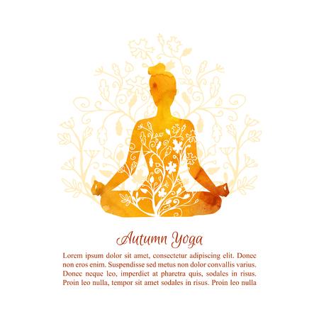 Modello di carta, poster e flyer Corsi di yoga autunnale. Vector l'illustrazione con la siluetta della donna di yoga con la struttura vibrante dell'acquerello, l'ornamento floreale, la decorazione delle foglie dell'albero e il posto per il vostro testo Archivio Fotografico - 86387448