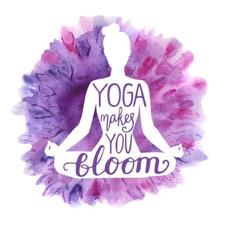 Yoga makes you bloom. Vector illustration with white isolated silhouette of a slim woman meditating in a lotus position, bright violet, pink and purple watercolor background with flowers and lettering Ilustração
