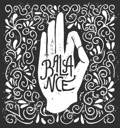 Balance. Vector illustration with white hand silhouette in pose Jnana or Chin mudra and lettering on black background with swirls. Yoga and meditation print, poster, flyer and card design.