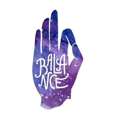 Equilibrio. Illustrazione vettoriale con la mano in posa Jnana o Chin mudra e lettering. Struttura luminosa dello spazio dell'acquerello e messaggio ispiratore. Yoga e meditazione stampa, poster, flyer e card design. Archivio Fotografico - 86387458