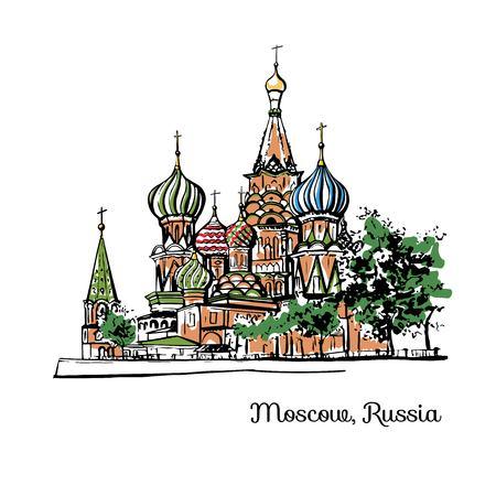 ロシア、モスクワの聖バレンタインデー。黒インクの輪郭とカラフルな要素。白い背景に孤立した都市のスケッチ。