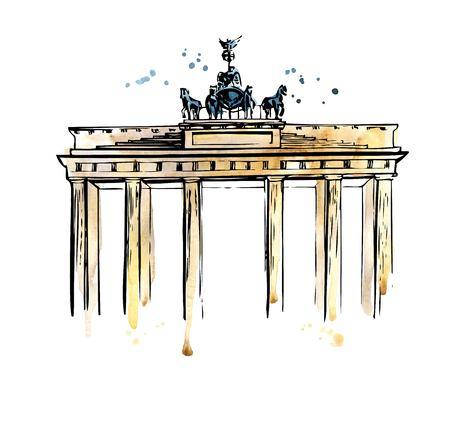 Ilustración vectorial de la Puerta de Brandenburgo en Berlín, Alemania. Hito alemán famoso dibujado mano. El contorno negro de la tinta y las salpicaduras brillantes de la acuarela, las manchas y los goteos en el fondo blanco.