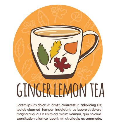 Vector illustration with take away cup with hot ginger lemon tea. Hand drawn cup on an orange circle background with autumn leaves pattern. Isolated on white background.
