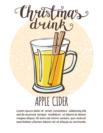 Vector illustration Christmas drink Apple cider. Hand drawn cup with hot beverage. Recipe card, poster and flier design with place for your text. Isolated on white background.