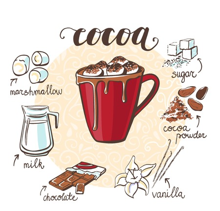 Vector illustration with soft hot drink Cocoa with marshmallow. Hand drawn cup with non-alcoholic beverage and doodle ingredients and spices. Recipe card with isolated objects on white background.  イラスト・ベクター素材