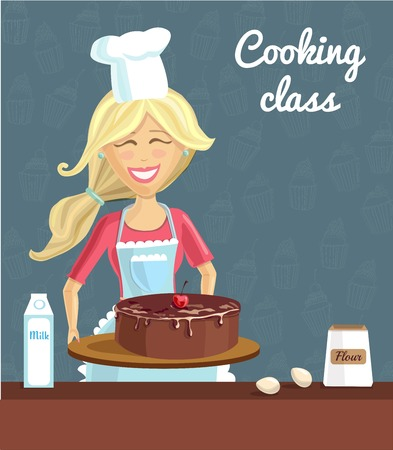 Vector illustration with young happy blondie woman baking chocolate cherry cake on dark blue background with doodle cupcakes. Poster, flyer and card template for culinary classes and cooking school. Illustration