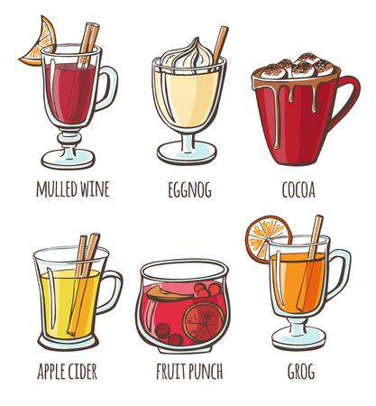 Vector illustration Hot beverages. Set of hand drawn cups, mugs and glasses with soft warm drinks isolated on white background for your card, flyer or menu design.