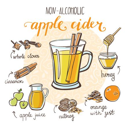 Vector illustration with soft hot drink Apple cider. Hand drawn glass with non-alcoholic beverage and doodle ingredients. Recipe card with isolated objects on circle frame and white background.
