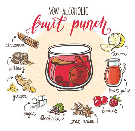 Vector illustration with soft hot drink Fruit punch. Hand drawn glass with non-alcoholic beverage and doodle ingredients. Recipe card with isolated objects on circle frame and white background. Иллюстрация