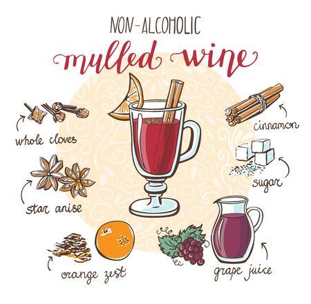 柔らかく温かい飲み物 Mulled ワインまたは Gluhwein ベクトル イラスト。ノンアルコール飲料で描かれたガラスを手し、食材やスパイスを落書き。白い