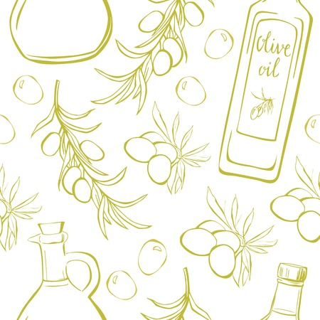 Vector seamless pattern with olive branches, leaves and oil bottle and pitcher. Hand drawn doodle objects on white background for print, wrapping paper and other design.