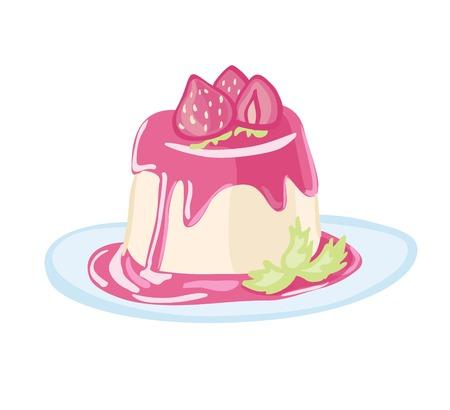 벡터 일러스트 레이 션의 달콤한 이탈리아어 디저트 panna 코타 딸기 잼, 신선한 딸기와 민트 잎 블루 접시에.