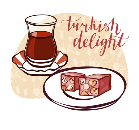 sugar cube: Hand drawn vector illustration of traditional turkish dessert lokum and tea in authentic glass bardak with oriental floral ornament with ottoman tulips. Turkish delight poster, card or flyer design. Illustration
