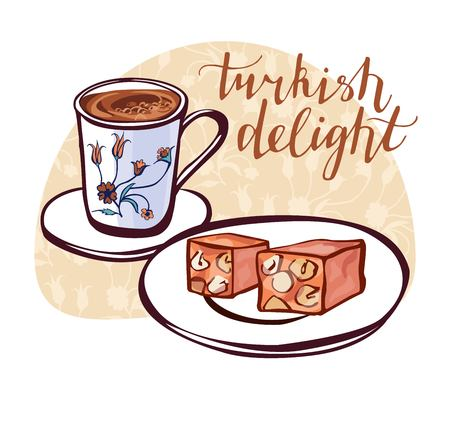 Hand drawn vector illustration of traditional turkish dessert lokum and a cup of coffee with oriental floral ornament of ottoman tulips. Turkish delight poster, card or flyer design. Vektorové ilustrace
