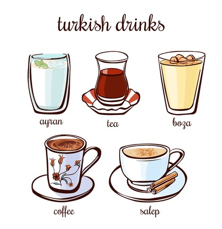 Set of hand drawn illustrations of turkish drinks ayran, boza, salep, coffee and tea. Collection of vector elements of traditional hot and cold drinks in authentic glass and cup.
