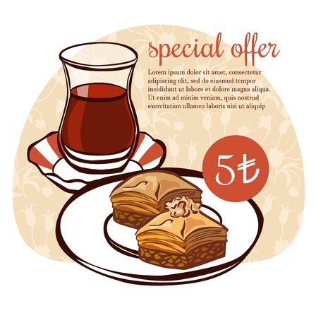 Hand getrokken vectorillustratie van traditionele Turkse dessertbaklava en een glas thee in een authentiek glas op bloemenornament. Turks verrukkingsposter, kaart, vliegerontwerp met tekst en prijs.