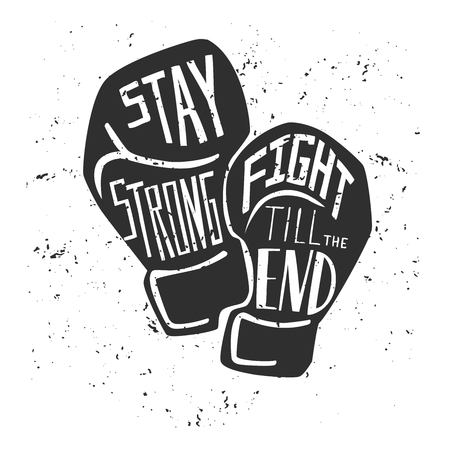 Vector card and poster with black silhouette of boxing gloves and white hand written. Illustration with lettering and grunge texture. Vettoriali
