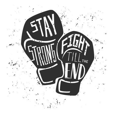 Tarjeta de vector y cartel con silueta negra de guantes de boxeo y mano blanca escrita. Ilustración con letras y textura grunge.